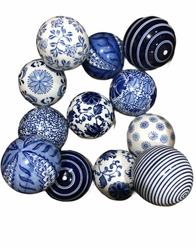 12 Blue & White Carpet Balls Porcelain Ceramic