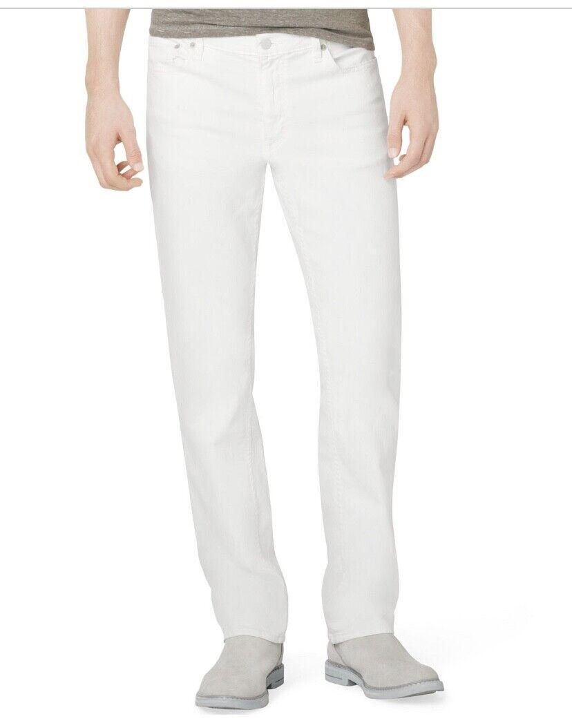 New Calvin Klein Jeans Men's 32Wx32L Denim White Slim Straig
