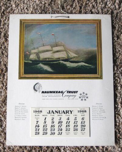 1968 NAUMKEAG TRUST COMPANY SALEM, MA BANK ADVERTISING WALL CALENDAR