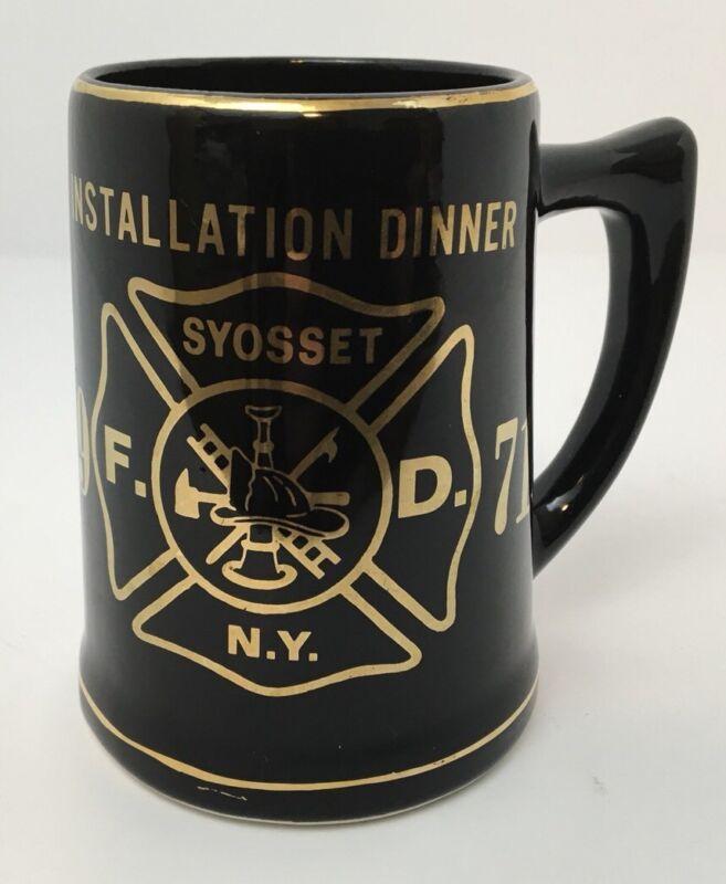 Vintage Fire Department Syosset NY Stein Mug Installation Dinner Black Gold 1971