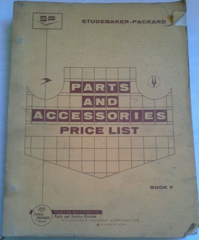 STUDEBAKER PACKARD PARTS AND ACCESSORIES PRICE LIST 1960