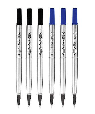 6X Quink Roller Ball Rollerball Pen Refill 3 Black + 3 Blue Ink Medium Nib 0.5mm