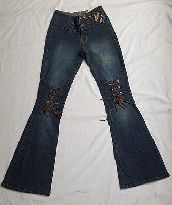 Nwt Watch La Denim Stretch Boot Cut Jeans Pants Laced Knees Juniors Size 5   6