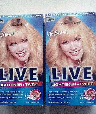 2 X Schwarzkopf Live Lightener + Twist Vanilla Blonde Permanent Hair Colour Dye