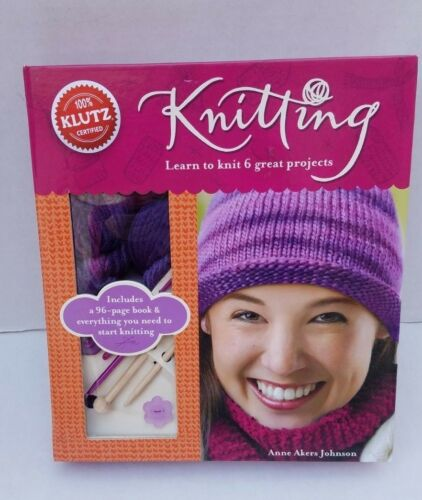 New Klutz Knitting Learn Knit Crochet Anne Akers Johnson Book Hat Scarf Sweater