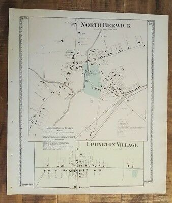 Antique MAP - NORTH BERWICK & LIMINGTON, MAINE - / Atlas York County, ME - 1872