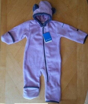 Nwt Columbia Baby Girls Lavender Snowies Tiny Bear Fleece Bunting 12 18 M