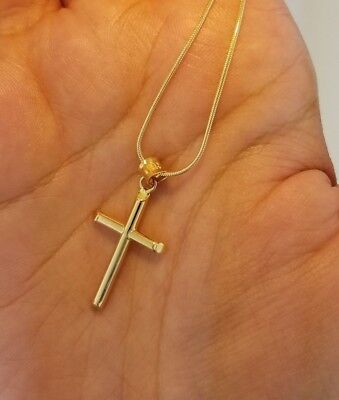 14K Yellow Gold 3-D Hollow Cross Pendant Charm for Necklace Chain 22 mm 0.8 (14k Hollow Cross Pendant)
