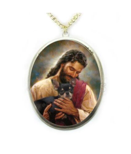 Jesus Black Chihuahua Dog Porcelain Cameo Necklace Handmade Jewelry Religious