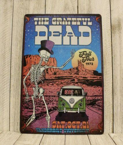 Grateful Dead in Concert Tin Sign Man Cave 1972 Tour Vintage Advertising Poster