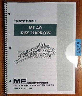 Massey Ferguson Mf40 Mf 40 Disc Harrow Parts Book Manual 651 273 M95 776