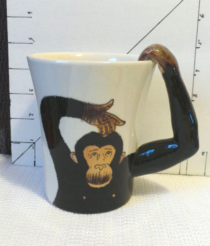 Cup/Mug, Monkey/Chimp, Pier 1 Imports, Collectible, Hand Painted, Ceramic