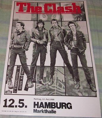 THE CLASH 1980 HAMBURG GERMANY REPLICA CONCERT POSTER W/PROTECTIVE SLEEVE