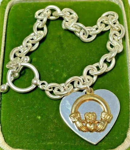 Lucky Irish Celtic Claddagh Silver Plated Gold T Heart Charm Toggle Bracelet 9h3