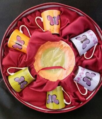 Set of 6 CC&T Coffee/Tea Cups and Saucers Beautiful Butterfly - Butterfly Tea Set