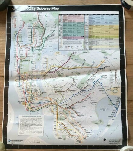 1990 NYC New York Subway Car Map Manhattan Brooklyn Bronx Queens