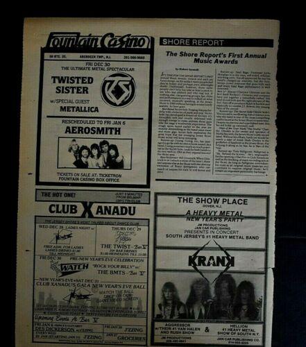 Metallica 1983 Club Ad Fountain Casino Aberdeen Twp NJ Twisted Sister
