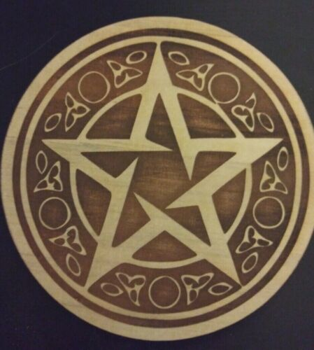 Small Pentacle Plaque Laser Engraved Wood Pagan Wiccan Pentagram