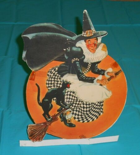 vintage Halloween WITCH ON BROOMSTICK WITH CAT standup DECORATION with easel