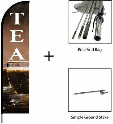 Tea Sign Banner Swooper Feather Flag Pole Kit Outdoor Advertising Display 15ft