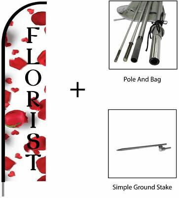 Florist Sign Banner Swooper Feather Flag Pole Kit Outdoor Advertising Sign 15ft