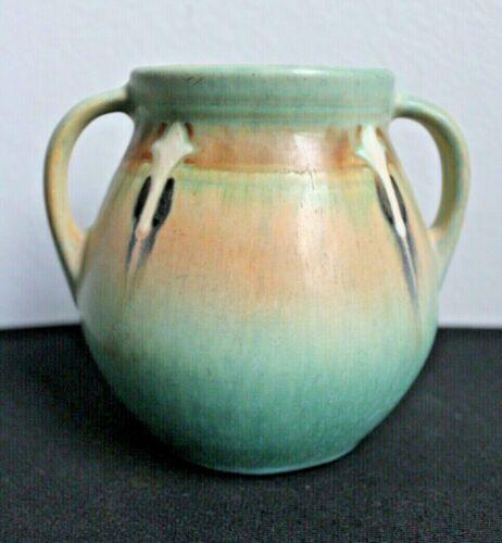 Super Roseville Monticello Blue Large-Handled Vase without Damage