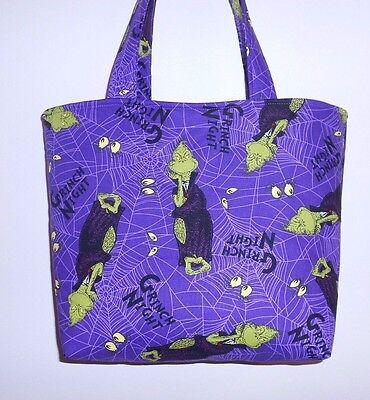 Handmade Halloween Spooktacular Seuss Grinch Night Tote Purse - Halloween Grinch Night