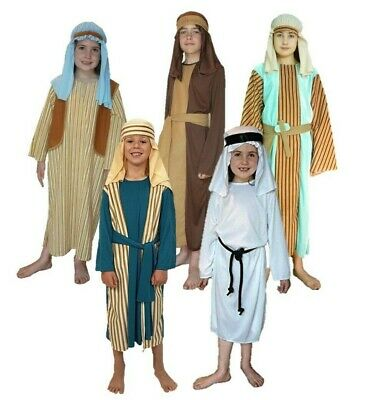 Shepherd Boy Girl Nativity Fancy Dress Costume Christmas Joseph Inn Keeper Kids