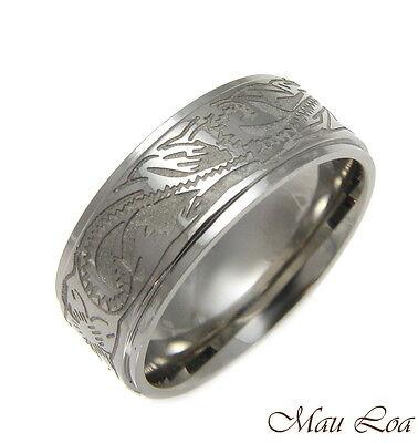 Stainless Steel Ring Band Unisex 8mm Hawaiian Plumeria Scroll Design Size 5-13 - Plumeria Design