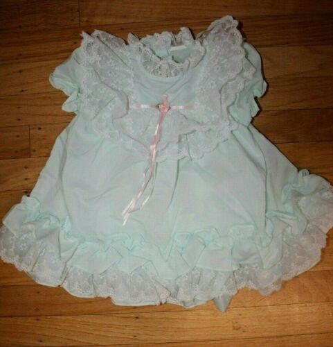Vtg JO LENE baby girl 24 months Blue Ruffle Dress White Lace