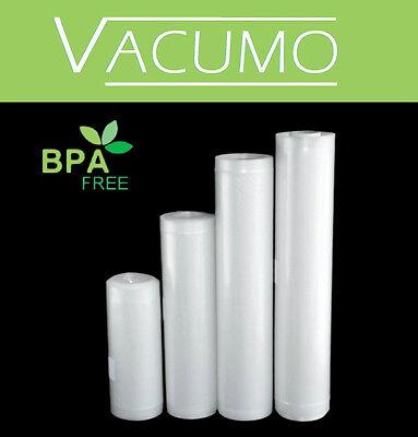 "VACUMO 4 x Vakuumbeutel Vakuumfolie Rolle ""SPARANGEBOT"" 15 20 25 30 cm x 600 cm"