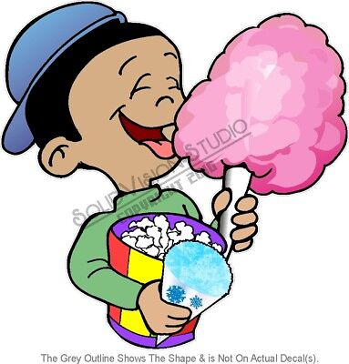 Cotton Candy Popcorn Snow Cone Concession Trailer Truck Vinyl Sticker Menu Decal