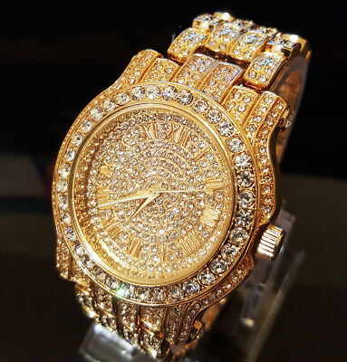 Elgin Iced Out Men's Skeleton Automatic Gold Plated Luxury Crystal Wrist Watch