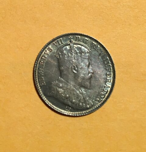 CANADA  EDWARD VII  1905  5 CENTS  SILVER COIN,  ALMOST UNCIRCULATED