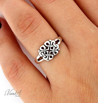 Sterling Silver Floral Celtic Knot Design Ring plain Band 925 jewelry (Celtic Knot Design Ring)