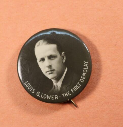 "Demolay Louis G. Lower Vintage Pin Back 1933 1.12"" St Louis Button Co Missouri"