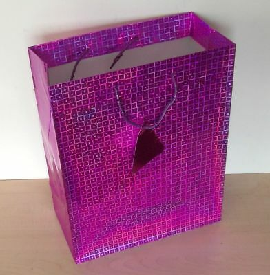 8 x Large Holographic Christmas Gift Bags Sparkly Purple Geometric Design NEW