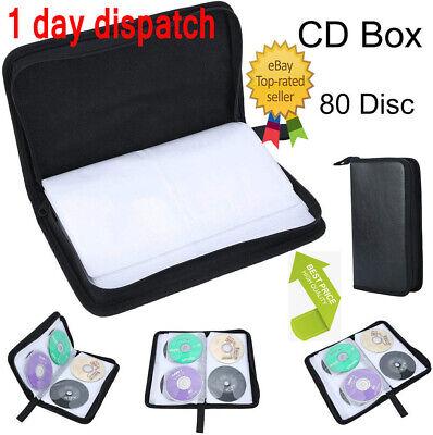 UK✔ 80 CD/DVD Carry Case Storage Holder CD Case Sleeve Wallet Ideal for Car