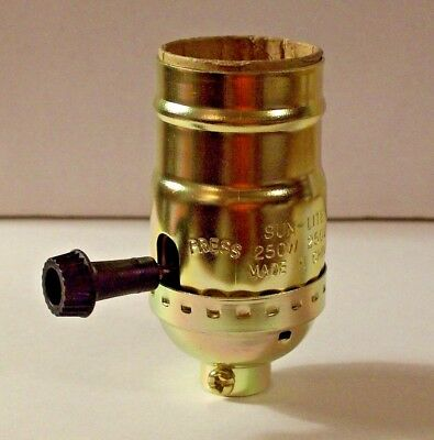BRASS PLATED 3-WAY TURN KNOB LAMP SOCKET LAMP SWITCH FOR 3-WAY BULB 30606K ()