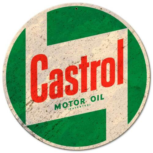 "CASTROL MOTOR OIL 14"" ROUND HEAVY DUTY USA MADE METAL ADVERTISING SIGN"