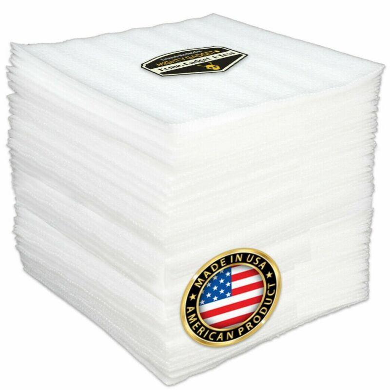 """100 Pack of Mighty Gadget 12"""" X 12"""" X 1/16"""" Thick Cushioning Foam Wrap Sheets"""