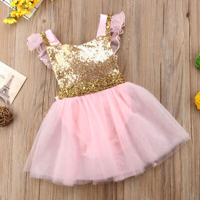 USA Flower Girl Princess Dress Infant Baby Party Wedding Lace Tulle Tutu Dresses (Baby Girl Party)