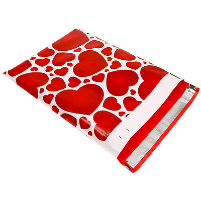 50 10x13 Red Hearts Designer Mailers Poly Shipping Envelopes Boutique Bag