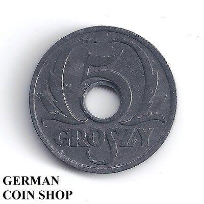 Germany Drittes Reich Generalgouvernement Polen 5 Groszy 1939 - Sehr selten!