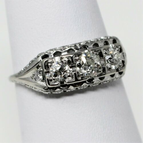 14k Gold ART DECO 3 Stone Diamond with Accents Engagement Ring Sz 7.25 B0795