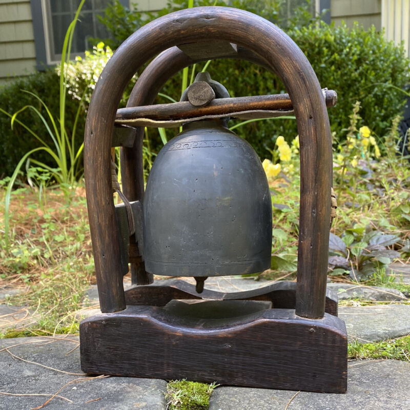 Vintage  Cast Bronze Thai Tribal Elephant Bell , Bamboo, wood, Leather Stand