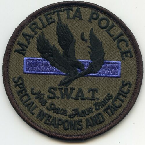 MARIETTA GEORGIA Thin Blue Line SEE THE BACK Special Weapons SWAT POLICE PATCH