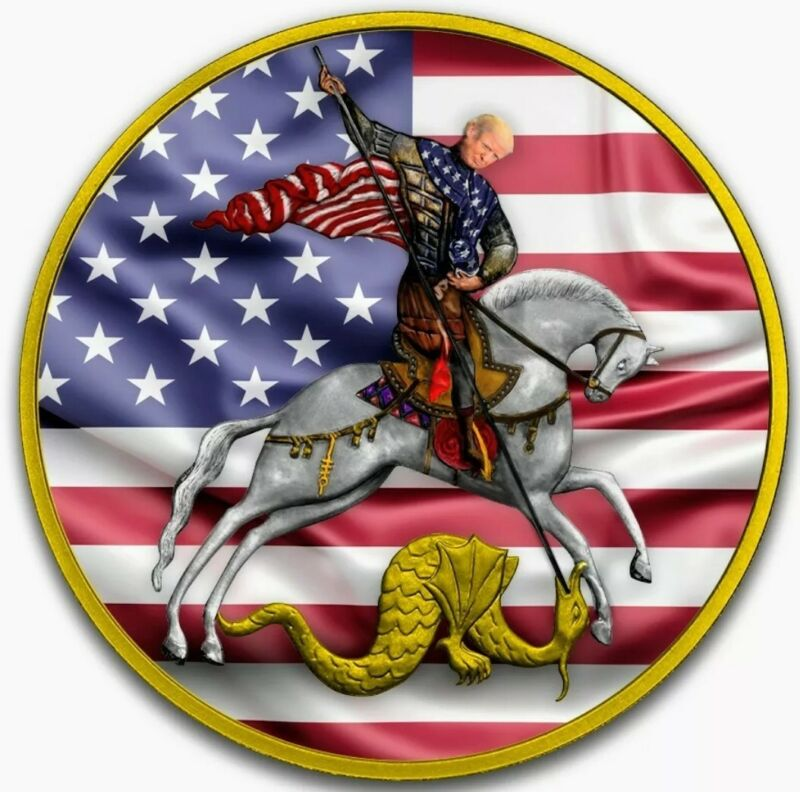 2010 Russia ST. GEORGE TRUMP THE VICTORIOUS Colorized 1oz .999 Silver Coin