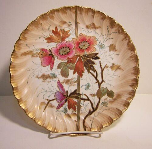 """Antique Royal Bonn 9""""  Mehlem Decorative Cabinet Plate Raised Gold Trim Floral"""