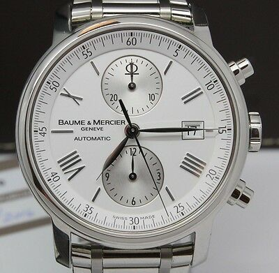 Baume & Mercier Classima XL Mens 42mm Steel Chronograph Watch Date w Boxes 65591